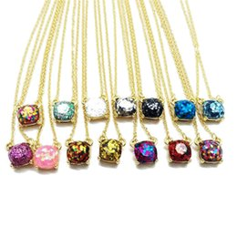 Wholesale Square Tins - Luxury Brand Glitter Druzy Drusy Pendant Necklace For Women Fashion Gold Plated Popular Square Gemstone Stone Pendant Necklaces Fine Jewelry