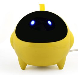Wholesale Computer Chargers - T3 Alien Speakers Wire Control USB Chargers Mini Computer Music Players White Yellow Pink 3 Colors DHL Free MIS121
