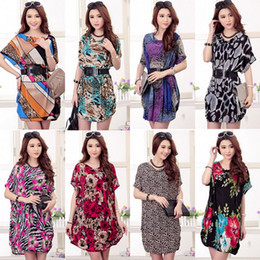 Wholesale Leopard Wholesale Dresses - Summer Casual Women Print Leopard Flower Short Sleeve Loose Straight Chiffon Dress Plus Size 20 Styles Size Free with belt