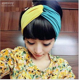 Wholesale Stretch Twist Headband - New Elastic Wide Stretch Patchwork Headbands for Women Sport Yoga Twist Headband assorted colors Bandana hijab Turban Free Shipping WHA60