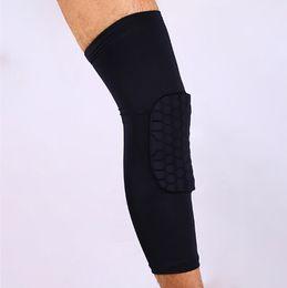 Wholesale Yellow Basketball Leg Sleeve - PRO honeycomb lengthened knee protector M L XL sports basketball football safety knee pad leg sleeves