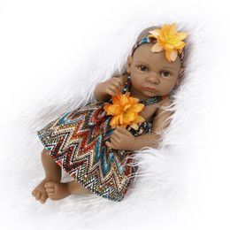 Wholesale American Girl Houses - 10 inch African American Baby Doll Black girl doll Full Silicone Body Bebe Reborn Baby Dolls children gifts kids toys play house toys