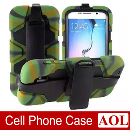 Wholesale Military Duty Hybrid Iphone - For Samsung Galaxy S6 S5 S4 S3 Note 4 3 Hybrid Military Silicone PC Shell Shockproof Duty Stand Case With Screen Protector Belt Clip