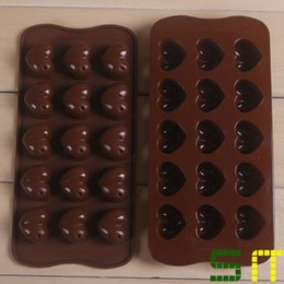 Wholesale Plaster Moulds - 15-cavity hearts chocolate Molds,silicone chocolate moulds,ice cream tools,plaster decor,forma de silicone para chocolate