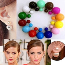 Wholesale Candy Silver Balls - High Quality Double Side Shining Pearl Earrings cute Candy big ball Stud Earrings bohemian fashion brand jewelry for Women Free Shipping