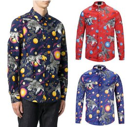 Wholesale Recycling Shirts - Space Animals 3D Print Shirt Men Long Sleeves Night Club Wear L S Casual Shirts Smooth Feel Male