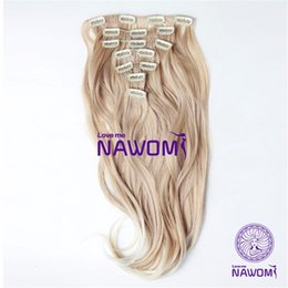"Wholesale Synthetic Hairpiece Blonde - New Color 7Pieces 17.71"" (45CM) 160g Long HairPiece Blonde Wavy Clip In On Full Head Hair Extensions Synthetic Women False Hair"