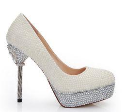 Zapatos de boda de marfil envío gratis online-12 cm talones marfil perla dama de honor zapatos boda nupcial zapatos de tacón alto tacón Stilettlo celebración celebración de la boda bombas envío gratis