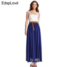 Wholesale Acrylic Floors - Wholesale- EdspLovd Slim Vintage Chiffon Maxi Skirt Pleated Elastic Waist long Style Spring Summer Autumn Fall Plus Size New XXXL AS-8E