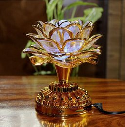 Wholesale Buddhist Supplies - Colorful led lotus lamp Buddha Machine Buddhist supplies of dual-use plug-in battery LED Lotus Flower Romantic Wedding Decorat