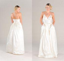 Wholesale Cheap Wedding Dreses - Cheap Special Pocket Wedding Dress 2015 Latest Eiffelbride with Sexy Spaghetti Straps and Elegant Zipper Back A Line Taffeta Bridal Dreses