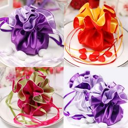 Wholesale Satin Red Gift Bags - 50 pieces lot Double Satin Wedding Favors Bags Candy Pouch Jewely Gifts Bag Party Supplies Wholesales -1TGD-DD