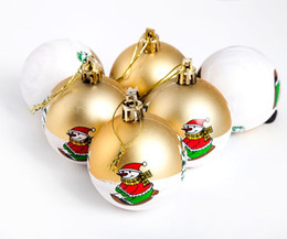 Wholesale 6cm Blue Christmas Ball - 30Pcs Lot 6CM Christmas Tree Ball Hand-painted Father Christmas Design Festive Party Supplies Christmas Decorations 2015 Hot Sale In Stock