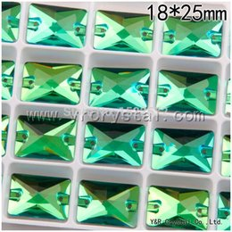 Wholesale Sew Rhinestones 18x25mm - Peridot Color Beads Silver Two Holes 36Pcs 18x25mm Flatback Rectangle Rhinestones Crystal Stones Sew on