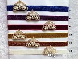 Wholesale Wholesale Hair Jewerly Accessories - Newest Baby Hairband Jewerly Princess Crown With Glitter Cashmere Headband Hair Accessory 12 Colors CF335