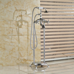 Wholesale Floor Mount Tub Filler Chrome - Wholesale And Retail Luxury Chrome Brass Free Standing Tub Filler Ceramic Hand Shower Bathroom Tub Faucet Dual Legs