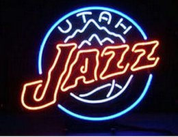 "Wholesale Commercial Parking Lights - New MLB American Baseball Utah Jazz Real Glass Tube Neon Sign Lighting Bar Store Game Room Park Sport Sign Light 15""X15"""