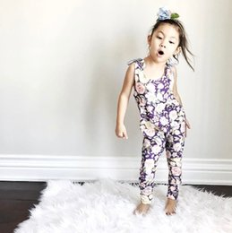 Wholesale Leotards Cm - INS Wish baby girl kids toddler Rose floral romper onesies Camisole Leotard pants Jumpsuits Diaper covers
