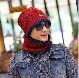 Wholesale Neck Scarves For Women - Balaclava hat Knitted scarf cap neck skullies warmer Winter Hats For Men women cap warm knit cap parent cm058