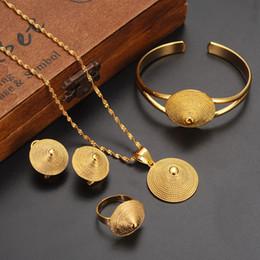conjuntos sólidos de pulseiras de ouro Desconto Colar Pingentes Anel Bangle Set 9k Sólido Ouro Fino GF eretriana Africano Abissínia antiga set chapéu de jóias