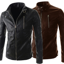 Wholesale Overcoat Pu - Personalize Men Cool Leather Jacket Long Sleeve Stand Collar PU Motorcycle Jacket For Men Contracted Slim Style Men Overcoat J160118