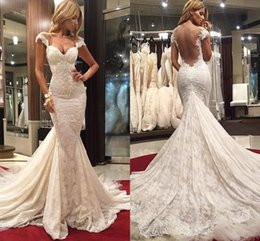 Wholesale Mermaid Sweetheart Chapel Sleeveless - Spring Gorgeous Lace Mermaid Wedding Dresses Sweetheart Cap Sleeves Lace Tulle Sweep Train Plus Size Backless Wedding Gowns 2017
