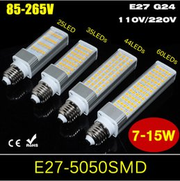 Wholesale G24 Led Dimmable - 7W 9W 11W 15W E27 G24 Aluminum Casting Horizontal Plug light Non-Dimmable AC85V-265V 110V 220V SMD5050 LED Bulb 25 35 44 60LEDs