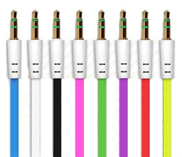 Wholesale Apple Audio Speaker - 3.5mm aux cable flat cable audio cable for speaker device 1 meter colorful
