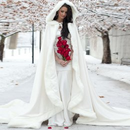 Wholesale Woman Cloaked White - Elegant Cheap 2016 Warm Bridal Cape ivory White Winter Fur Coat Women Wedding bolero Jacket Bridal Cloaks Wedding Coat bridal winter coat