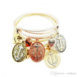 Wholesale Expandable Rings - Gold Anchor Charm Bracelets Brand Anchor Love Expandable Shiny Silver Bangle Bracelet High-End Jewelry Gift For Women Girl