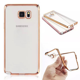 Wholesale Chrome Cell Phone Cases - Samsung Galaxy On5 On7 A5 A7 J5 S6 Note 5 iPhone 6 Clear Rubber Plating Chrome TPU Soft Cell Phone Back Case Cover