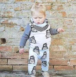 Wholesale Long Sleeved Vest Baby - 2016 New Baby Boy Thanks Baby Clothing Unisex Cotton Long Sleeved T-shirts + Pants 2   PSC Infant Penguin Baby Boy Clothing Set hight qualit