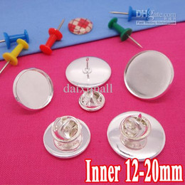 Wholesale Cameo Brooch Settings - 100set Silver Plated Brooch Blank with inner 12-14-16-18-20mm Bezel Setting Tray for Cameo Cabochons