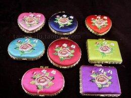 Wholesale Handmade Silk Embroider - Wholesale-Wholesale 100pcs Chinese Handmade Clasic Embroidered Metal& Silk Cosmetic Mirrors