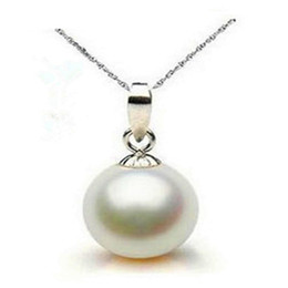 Wholesale rare shells - Necklaces Pendants Jewelry 925 Stering Silver Pearl Charm Statement Necklace women gift Super rare white 10mm 12mm sea shell pearl necklace