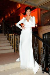 Wholesale Hot Photos Nude - 2015 Custom Made V-Neck Long Sleeve Mermaid Long Formal Evening Dresses Shrug Sexy Prom Party Gowns Hot Sale Mother Of The Bride Gowns Chic