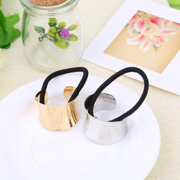 Wholesale Ring Mirror - Wholesale-Hotsale Metal Mirrored Celeb fashion Chic Style Round Hoop Cuff Wrap Girls' Ponytail Holder Ring Hair Bands Women Hair ties