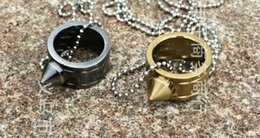 Wholesale Wholesale Dk - New Hot Gold or Dk Gray Necklace Self Defence Stainless Steel Ring Finger Defense Ring Necklace Tool Kit