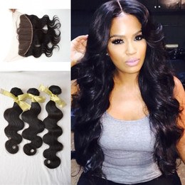 Wholesale Wholesale Virgin Burmese Hair - 13x4 Burmese body Wave Lace Frontal Closure With Bundles G-EASY Hair beauty mink Virgin Hair weave With frontal Closure Bundles