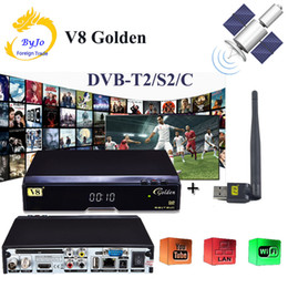 Wholesale Cable Hd Receiver - V8 Golden DVB-S2 DVB-T2 DVB-C Support Powervu IPTV Cccam Cline+1 usb wifi DVB-T2 S2 C Cable Satellite Receiver with USB WIFI