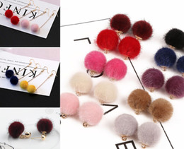 Wholesale hair made plate - 100pcs lot Plush Fake Rabbit Fur Hair Ball Beads Charms Pendant for Earring Jewelry Making 15mm