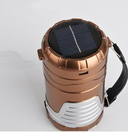 Wholesale Emergency Lamp Rechargeable - New Retractable Outdoor Tent USB Solar Camping Lamp LED Lantern Light For Hiking Emergencies 6 LED Portable Lantern Lamp in Outdoor Lighting