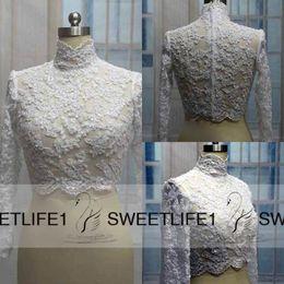 Wholesale Lace Jacket Bolero Coat - Hot Sale Lace Bridal Wedding Jacket Coat High Neck Applique Beads Long Sleeves Bridal Wrap Bolero Custom Made Cheap High Quality Accessories
