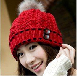 Wholesale Glove Fashion Trend - Wholesale-Fashion fur ball new winter knit hat women version of ear warm winter outdoor trend