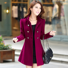 Wholesale Double Breast Coat Women - New Fashion Women Korean Wool Coat Ladies Designer Long Blazer Winter Outwear Windbreaker Female