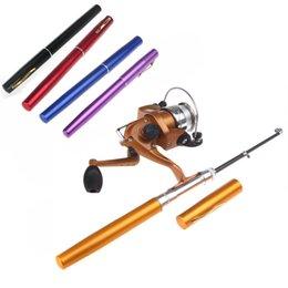Wholesale Spining Rods - 6 Colors Pesca Mini Spining Aluminum Pocket Pen Fishing Rod Pole + Reel Wholesale