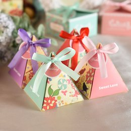 Wholesale Candy Box Pyramids - 100pcs Pyramid Cone Lovely Gift Candy Box Wedding Favor Baby Show Birthday Christmas Party Gift Boxes