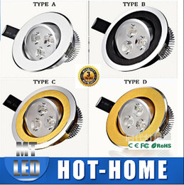 Wholesale 1w Led Light Bulb - X20PCS Fast ship ture power LED DIMMABLE down light 3W 3*1W replace 3*3W 9W 350lm 85-265V Led bulb Lamps Spotlight downlight lighting