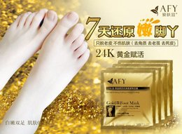 Wholesale Feet Softening - Peeling Feet Mask AFY Gold Foot Mask 24k Gold Revitalizing Exfoliating Softening Feet Mask Remove Dead Cells Prevent Cracked Feet Tendering