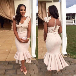 Wholesale Mermaid Tea Party - New Short Arabic Lace Cocktail Dresses 2018 Sheer Neckline Appliques Mermaid Tea Length Blush African Style Prom Party Evening Gowns Custom